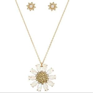Betsey Johnson Pave Daisy Necklace and Earrings